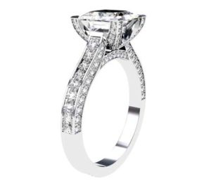 Princess Cut Diamond Engagement Ring with Diamond Basket and Band 4 2