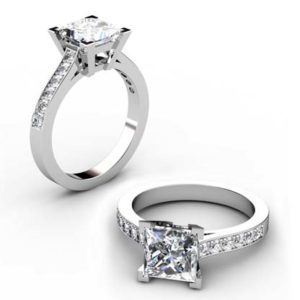 Princess Cut Diamond Engagement Ring with Side Stones 1 2 2