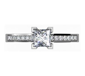 Princess Cut Diamond Engagement Ring with Side Stones 2 3 2