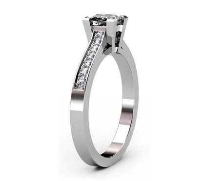 Princess Cut Diamond Engagement Ring with Side Stones 4 3 2