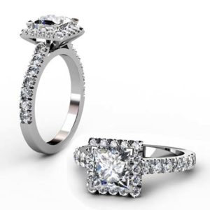 Princess Cut Diamond Halo Engagement Ring 1 1 2