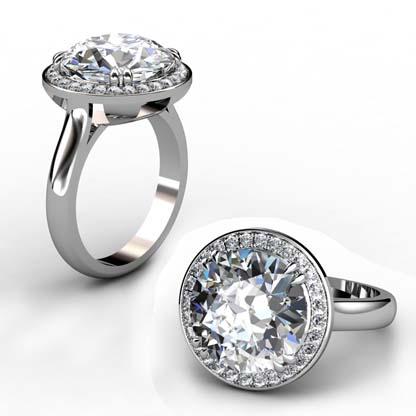Princess Cut Diamond Halo Engagement Ring 1 3 2