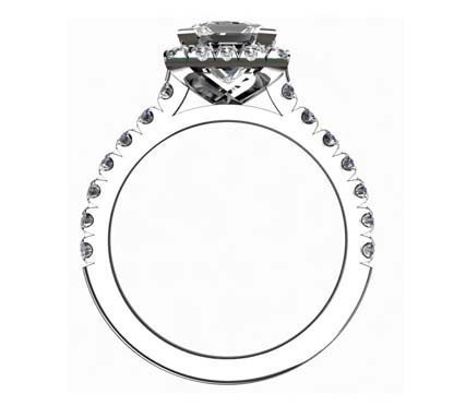 Princess Cut Diamond Halo Engagement Ring 3 1 2