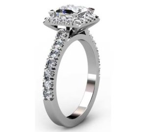 Princess Cut Diamond Halo Engagement Ring 4 1 2