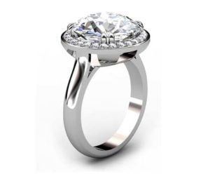 Princess Cut Diamond Halo Engagement Ring 4 3 2