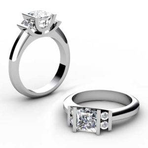 Princess Cut Diamond Part End Set Engagement Ring 1 1
