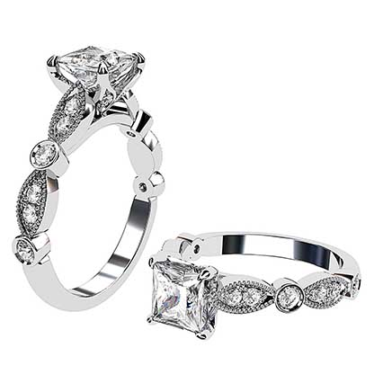 Princess Cut Diamond Ring with Eclipse Style Band 1 2