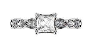 Princess Cut Diamond Ring with Eclipse Style Band 2 2