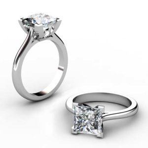 Princess Cut Diamond Solitaire Engagement Ring with V Shape Basket 1 2