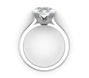 Princess Cut Diamond Solitaire Engagement Ring with V Shape Basket 3 2