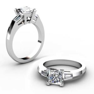 Princess Cut Diamond Three Stone Engagement Ring with Knife s Edge Band 1 1