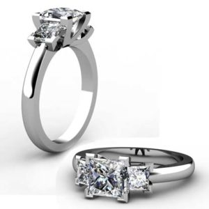 Princess Cut Diamond Three Stone Engagement Ring with V Shaped Design 1 2