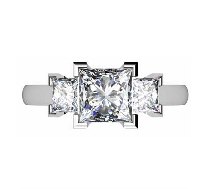 Princess Cut Diamond Three Stone Engagement Ring with V Shaped Design 2 2