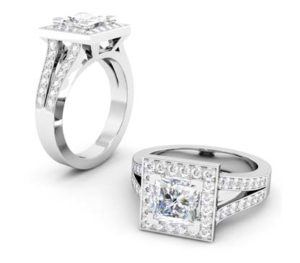 Princess Cut Halo Engagement Ring with Split Shank 1 2
