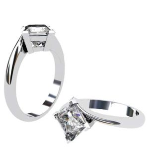 Princess Cut Solitaire Diamond Engagement Ring with Twisted Band 1 2