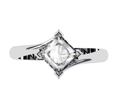 Princess Cut Solitaire Diamond Engagement Ring with Twisted Band 2 2