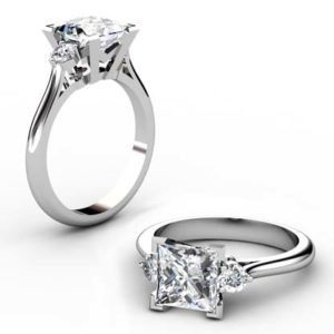 Princess Cut V Shape Three Stone Diamond Engagement Ring 1 2