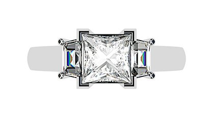 Princess Cut and Trapezoid Diamond Ring 1 2