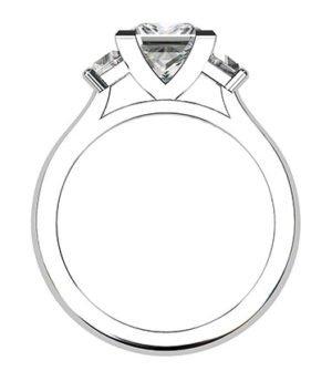 Princess Cut and Trapezoid Diamond Ring 2 2