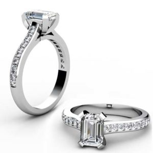 Radiant Cut Diamond Engagement Ring with Flat Prongs 1 1