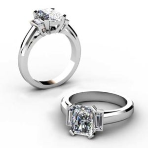 Radiant Cut Diamond Three Stone Engagement Ring 1 2