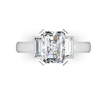 Radiant Cut Diamond Three Stone Engagement Ring 2 2