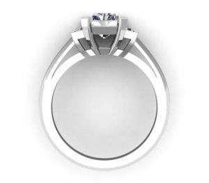 Radiant Cut Diamond Three Stone Engagement Ring 3 2