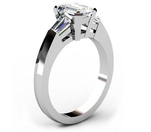 Radiant Cut Diamond Three Stone Engagement Ring with Kinfe Edge Band 4 2