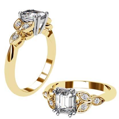 Radiant Cut Yellow Gold Petal Engagement Ring 1 2