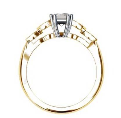 Radiant Cut Yellow Gold Petal Engagement Ring 3 2