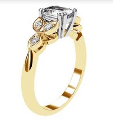 Radiant Cut Yellow Gold Petal Engagement Ring 4 2