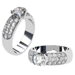 Round Brilliant Cut Bezel Set Engagement Ring with Wide Diamond Band 1 2