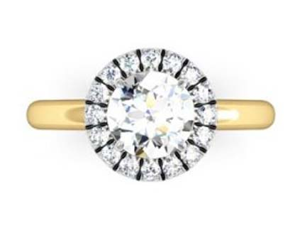 Round Brilliant Cut DIamond Yellow Gold Halo Engagement Ring 2 2