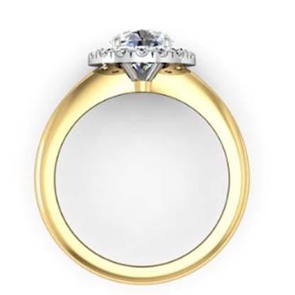 Round Brilliant Cut DIamond Yellow Gold Halo Engagement Ring 3 2