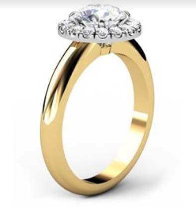 Round Brilliant Cut DIamond Yellow Gold Halo Engagement Ring 4 2