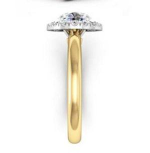 Round Brilliant Cut DIamond Yellow Gold Halo Engagement Ring 5 2