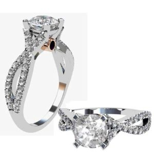 Round Brilliant Cut Diamond Engagement Ring with Crossover Diamond Band 1 2