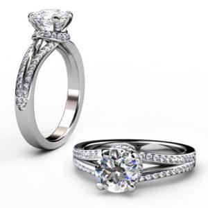 Round Brilliant Cut Diamond Engagement Ring with Diamond Basket 1 1 2