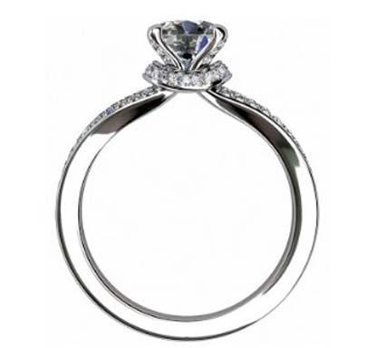 Round Brilliant Cut Diamond Engagement Ring with Diamond Basket 3 1 2