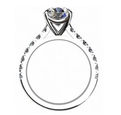 Round Brilliant Cut Diamond Engagement Ring with Diamond Half Band 3 2