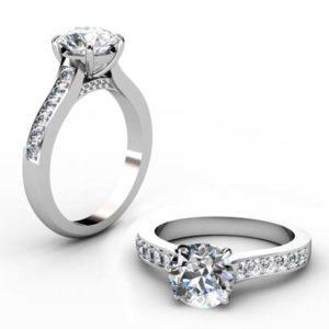 Round Brilliant Cut Diamond Engagement Ring with Diamond Rail 1 1 2