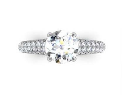 Round Brilliant Cut Diamond Engagement Ring with Tapering Diamond Band 2 2