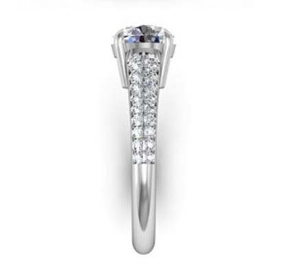 Round Brilliant Cut Diamond Engagement Ring with Tapering Diamond Band 5 2