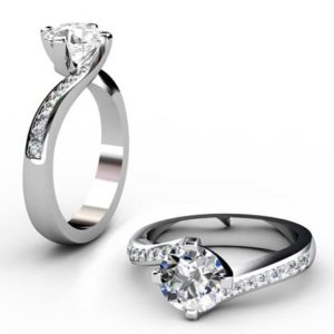 Round Brilliant Cut Diamond Engagement Ring with Twisted Band 1 1 2