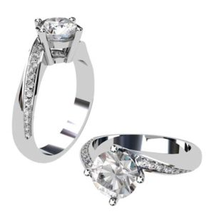 Round Brilliant Cut Diamond Engagement Ring with Twisted Band 1 3 2