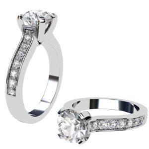 Round Brilliant Cut Diamond Engagement Ring with V Shape Basket 1 2