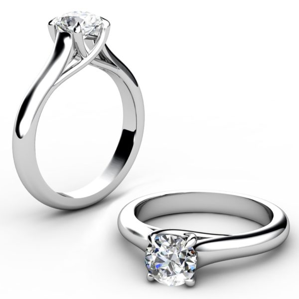 Round Brilliant Cut Diamond Engagement Ring with Weaved Claws 1 2