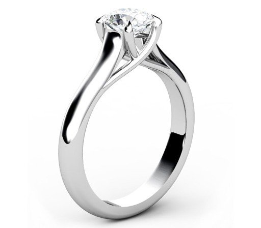 Round Brilliant Cut Diamond Engagement Ring with Weaved Claws 4 2