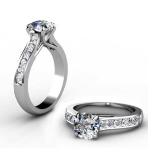 Round Brilliant Cut Diamond Engagement Ring with Weaved Prongs 1 2