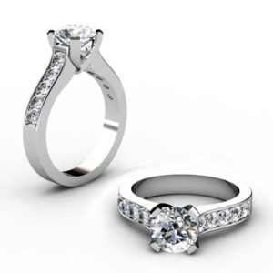 Round Brilliant Cut Diamond Engagement Ring with Wide Channel Set Diamond Band 1 2